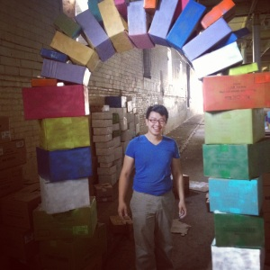 Artist Tommy Nguyen setting up his interactive installation at SILO City's City of Night